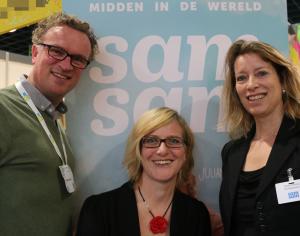 Rechts: Mirjam Bonting (hoofdredacteur SamSam), Midden: Karin Wesselink (redacteur) en links: Ronald Scheer
