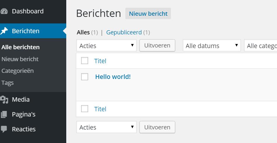 Wordpress berichten maken