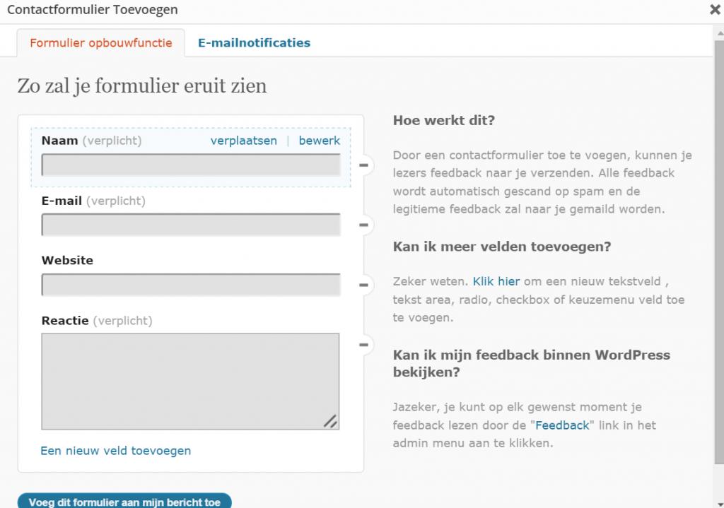 ContactFormulier Toevoegen BeginScherm