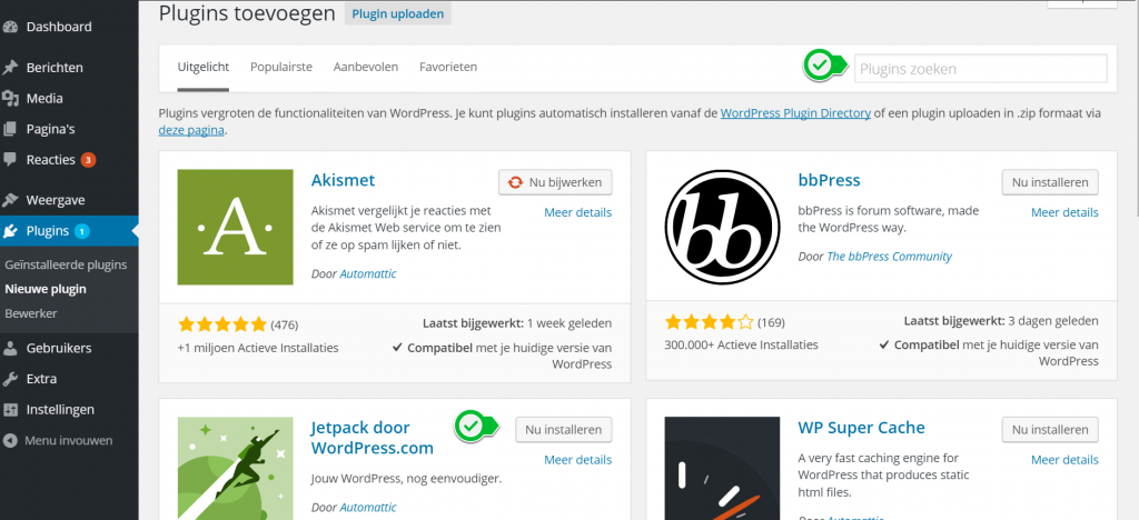 Wordpress nieuwe plugin installeren