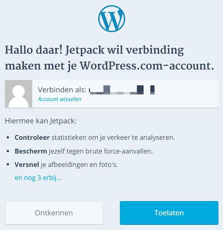 jetpack verbinden met WordPress