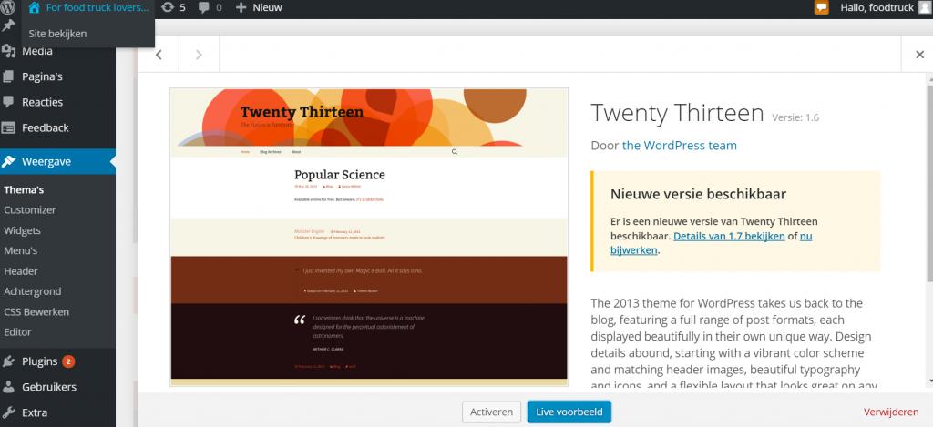 Wordpress thema wijzigen