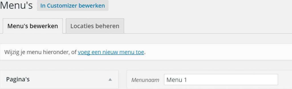 Menu maken WordPress