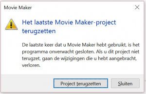 moviemaker-foutmelding