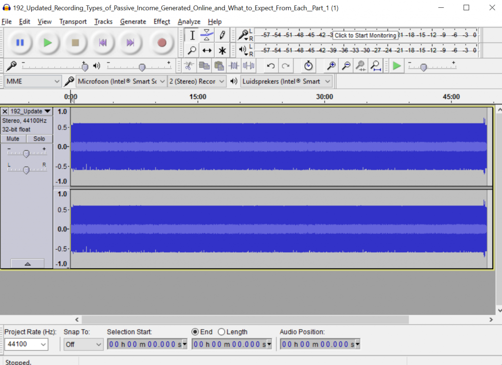 Audacity imported file