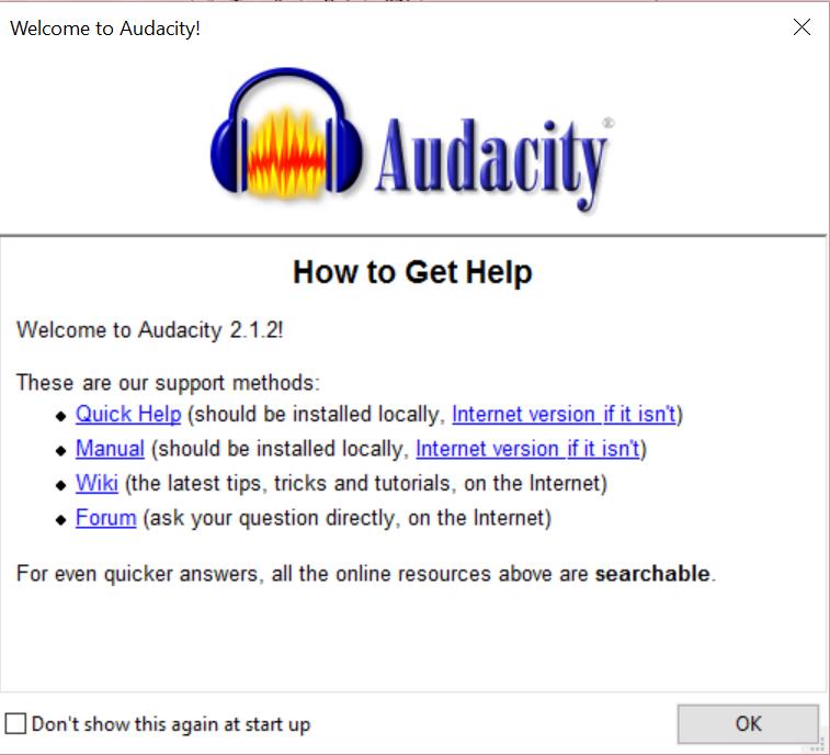 Starten met Audacity